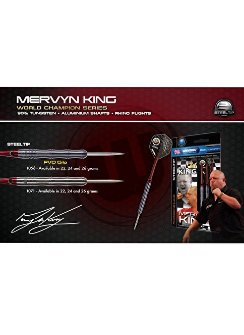 Winmau Mervyn King %90 Tungsten Çelik Uçlu Dart PVD Grip-24 Gram Renkli